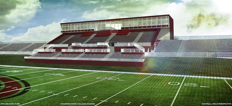 An artistic rendering of the north-facing side of Con Marshall Press Box, the Don Beebe Stadium grandstands and a section of artificial turf on Elliott Field in the proposed CSC Sports Complex announced Wednesday, March 29, 2017.