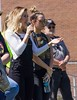 Maddie & Tae give a shout-out to The Big Event volunteers on the football field Saturday, April 22, 2017. (Photo by Tena L. Cook/Chadron State College)