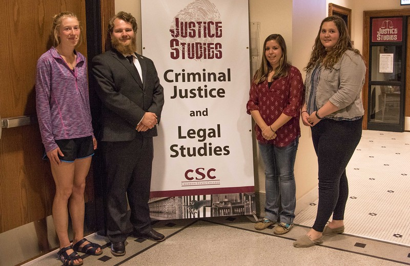 Chadron State College students accepted to law schools, from left,  Stachia Reuwsaat of Black Hawk, S.D., Coy Clark of Benkelman, Neb., Teryn Blessin of Greenwood, Neb., and BriAnn Straub of Scottsbluff, Neb. (Photo by Tena L. Cook/Chadron State College)