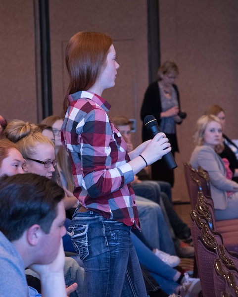 Makenna Douglas of Sidney High School asks a question of the Nebraska Court of Appeals Tuesday, April 11, 2017, in the Chadron State College Student Center Ballroom. (Photo by Tena L. Cook/Chadron State College)