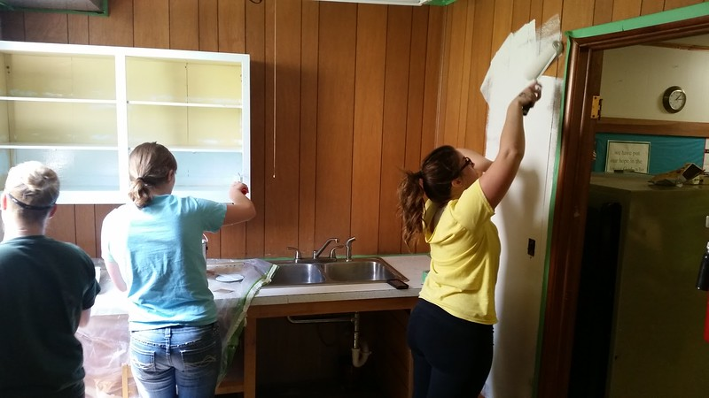 CSC students paint at the Church of the Nazarene during The Big Event Saturday, April 22, 2017. (Photo by Alex Coon/Chadron State College)