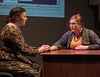"""Agnes (Courtney Smith), left, speaks to her colleague Vera (Cynthia Clark) in """"She Kills Monsters."""" The play by Qui Nguyen was presented by the Chadron State College Theatre program. (Photo by Daniel Binkard/Chadron State College)"""