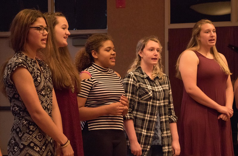 High school students enrolled in choir during Summer Upward Bound at Chadron State College perform at the program's closing banquet Thursday, June 29, 2017, in the CSC Student Center Ballroom. (Photo by Tena L. Cook/Chadron State College)