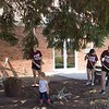 Erin Heide, dance team adviser, and her daughter, Della, help the CSC dance team members with yard work at the Methodist Church Saturday, April 22, 2017, during the 5th Annual The Big Event. (Photo by Tena L. Cook/Chadron State College)