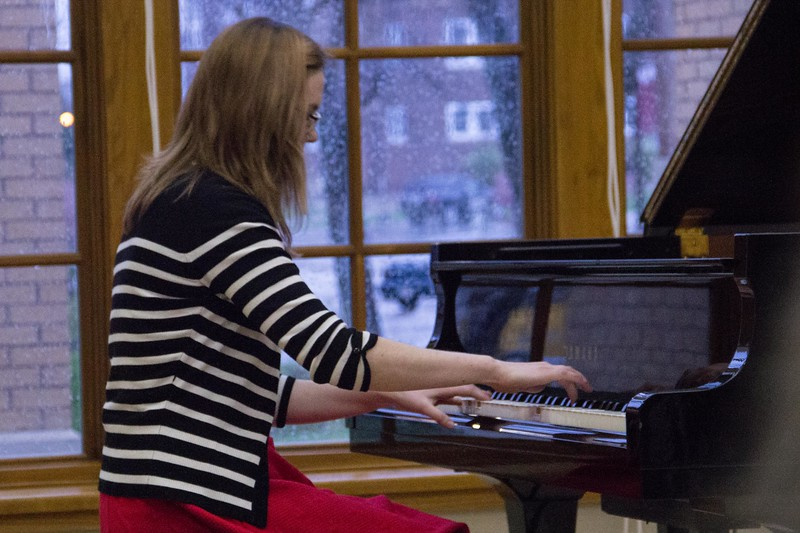 Chadron State College student Kallie Bush performs at the Piano Studio Recital Thursday, April 27, 2017, in the Sandoz Center Chicoine Atrium.(Photo by Tena L. Cook/Chadron State College)