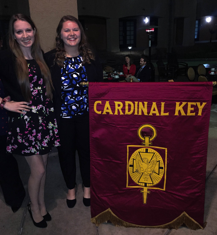 Chadron State College students Katie Odvody, left, of Crete, Neb., and Kelsey Brummels of Ewing, Neb., both officers in the CSC chapter, pose  while attending the 2017 Cardinal Key National Honor Society National Conference hosted Nov. 16-19 in Tucson, Ariz. (Courtesy photo)