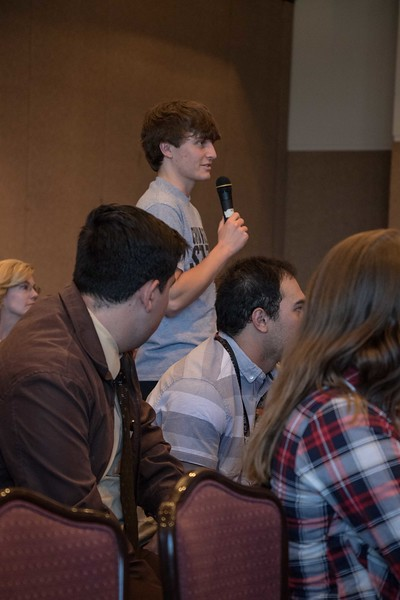 Chadron State College student Brian Doll of Gering, Nebraska, participates in the question and answer session following hearings before the Nebraska Cort of Appeals Tuesday, April 11, 2017, in the Student Center Ballroom. (Photo by Tena L. Cook/Chadron State College)