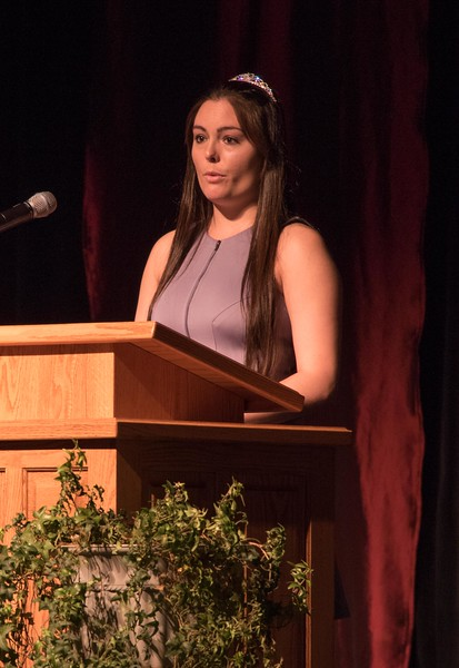 Chadron State College senior Mariah Conyers offers the Cardinal Key student oration at Ivy Day May 5, 2017, in Memorial Hall. (Photo by Tena L. Cook/Chadron State College)