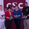 Employees honored for 20 years of service at the annual Chadron State College Faculty and Staff Recognition Luncheon Thursday, April 13, 2017, in the Student Center Ballroom. From left, Dr. Dawn Brammer, Deb Smith, Cindi Walgren and Steve Weber.