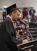 Taylor Osmotherly of Crawford, Neb., provides the closing moment of reflection during Chadron State College's undergraduate commencement May 6, 2017. (Photo by Tena L. Cook/Chadron State College)