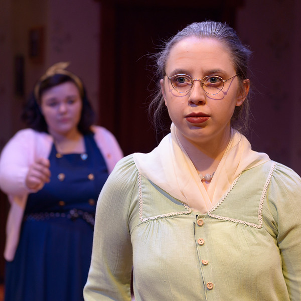 "Taylor Thies (foreground) plays Grandma Kurtz, and Mickenzie Loyd plays Bella in Chadron State College's production of ""Lost in Yonkers"" by Neil Simon, student-directed by Molly Thornton. (Photo by Daniel Binkard/Chadron State College)"