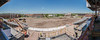 A panoramic view from the future site of the hospitality area of Marshall Press Box as workers prepare Elliott Field for artificial turf. Construction at Beebe Stadium is expected to be largely complete for the first home football game of the 2018 season on September 1. (Photo by Daniel Binkard/Chadron State College)