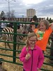 Hannah and Abby Jamison, daughters of Todd Jamison, assistant professor in the Business Academy, and Dr. Wendy Jamison, associate professor and chair of the Physical and Life Sciences department, pose at the Spring Daze petting zoo in Andrews parking lot Friday, April 21, 2017. (Photo courtesy Wendy Jamison)