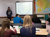 Lanie Thies of Potter, Nebraska, participates in a sample teaching contest during Chadron State College's Annual Scholastic Day, Friday, April 7, 2017 in Old Admin. (Photo by Tena L. Cook, Chadron State College)