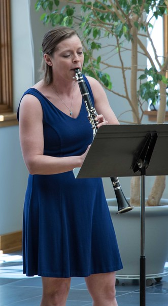 Chadron State College music faculty member Pam Shuler performs during her clarinet recital Sunday, April 2, 2017 in the Chicoine Atrium. (Photo by Alex Coon/Chadron State College)