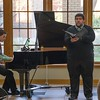 Bobby Pace, left, and Zach Henderson perform during a Chadron State College student and faculty composers concert Wednesday, April 26, 2017, in the Sandoz Center Chicoine Atrium. (Photo by Alex Coon/Chadron State College)
