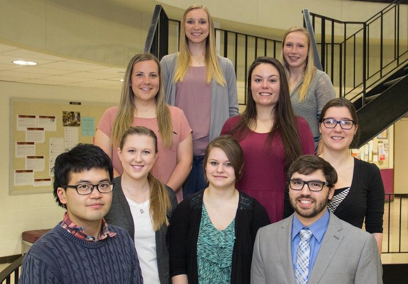 Seniors in Biology Seminar II (BIO 410) pose for a photo Monday, April 1, 2017, in the Math and Science building. First row, from left, Shoichi Arai of Tokyo, Japan and Ian Ahrens of Palmer, Alaska. Second row, Cierra Cosslett of Grand Junction, Colo., Jessi Aufrecht of Alliance, Neb., and Bethany Bergstrom of Axtell, Neb. Third row, from left, Kelsie Richardson of Brookfield, Colo. and Mariah Conyers of Chadron. Fourth row, from left, Ashley Stevens of Bridgeport, Neb. and Shelbey Nagle of Circle, Mont. (Photo by Tena L. Cook/Chadron State College)