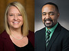Dr. Wendy Waugh, left, and Dr. Alaric Williams are new deans at Chadron State College, July 1 and July 15, 2020, respectively. (Waugh photo by Daniel Binkard/Chadron State College; Williams photo by Liz Chrisman, ATU MARCOMM)