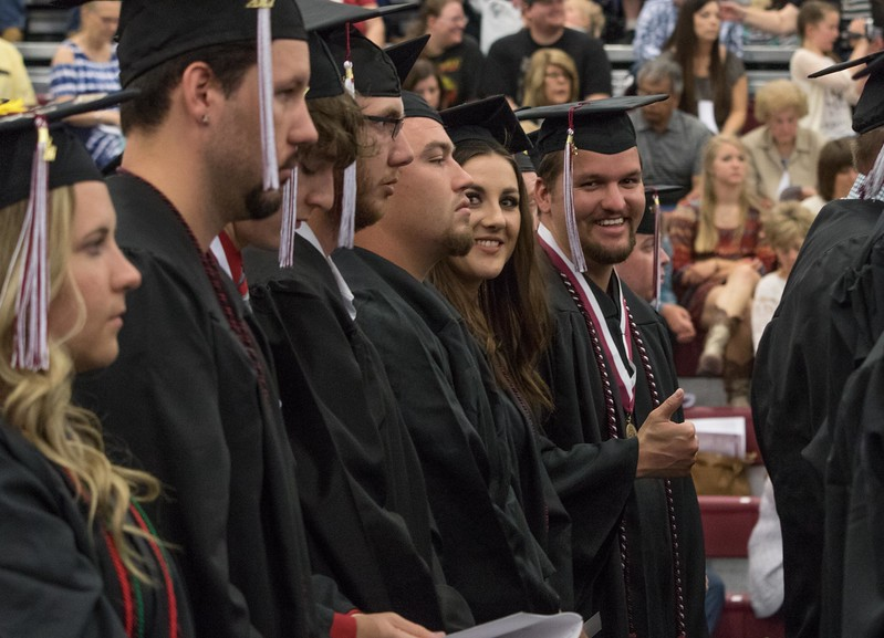 Chadron State College graduate Broc Anderson of Alliance, Neb., gives a thumps up during CSC's undergraduate commencement May 6, 2017, in the Chicoine Center. (Photo by Tena L. Cook/Chadron State College)