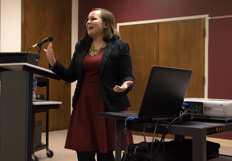 Sara Smith, an Admissions Representative for Chadron State College, discusses her college internship experience at Walt Disney World during a Diversity Committee program for Women's History Month, Tuesday, March 28, 2017, in the Student Center. (Photo by Kelsey R. Brummels/Chadron State College)