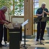 Dr. Sandy Schaefer, left, and Dr. Michael Stephens perform during a Chadron State College student and faculty composers concert Wednesday, April 26, 2017, in the Sandoz Center Chicoine Atrium. (Photo by Alex Coon/Chadron State College)