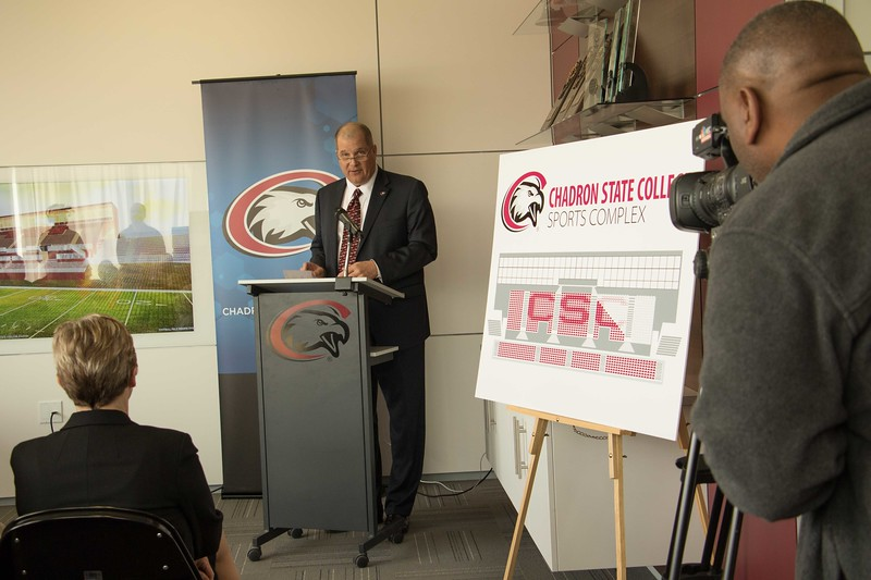 Chadron State College President Randy Rhine speaks at a press conference to announce the new CSC Sports Complex on Wednesday, March 29, 2017. (Photo by Tena L. Cook/Chadron State College)