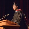 Adam Neumann of Fort Calhoun, Neb., offers the closing moment of reflection during the Chadron State College graduate commencement ceremony in Memorial Hall May 6, 2017. (Photo by Tena L. Cook/Chadron State College)