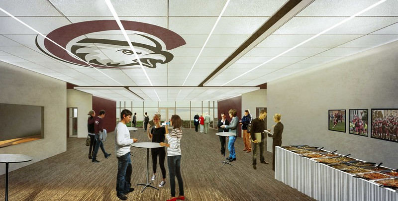 An artistic rendering of the Don Beebe Stadium hospitality suite in the proposed CSC Sports Complex announced Wednesday, March 29, 2017.