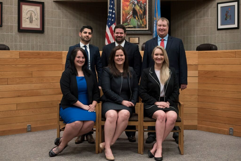 Chadron State College alumna Morgan Nelson, front row, center, was elected the 2017-18 president of the University of South Dakota School of Law Student Bar Association on April 5, 2017.  Executive Board members, back row, from left, Hawar Sabir, Luca Renzi and Tyler Larsen. Front row, from left, Lynae Tucker, Nelson and Sara Little. (Courtesy photo)