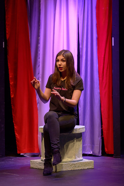 """Alyssa Jensen speaks during Chadron State College's production of """"The Vagina Monologues"""" by Eve Ensler. (Photo by Daniel Binkard/Chadron State College)"""