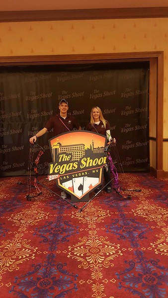 Chadron State College students Sam Vanderheiden, left, and Kylie Knigge, right, pose at the U. S. Intercollegiate Indoor Archery Championships in Las Vegas, Nev., Feb. 10-12, 2017. Vanderheiden, Knigge, and teammate Trent Findley will compete at NFAA Midwest Sectionals in Yankton, S.D. Feb. 25-26. (Courtesy photo)