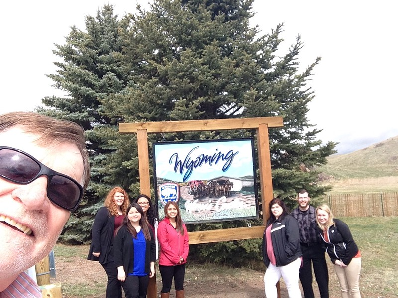 Chadron State College Social Work professor Bruce Hoem, left, poses with his Social Work students on their way to a tour of the Wyoming Women's Correctional Facility in Lusk Tuesday, April 4, 2017. (Courtesy photo)
