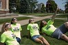 Chadron State College Resident Advisors prepare for the Aug. 21, 2017, solar eclipse with approved safety glasses, from left, Eliza Hare of Valley, Neb., Samantha Merrill of Oral, S.D., Kali Ritterbush, Gilbert, Ariz. and Logan Douglas of Sidney, Neb. Free glasses will be available at several campus functions before the eclipse. (Tena L. Cook/Chadron State College)