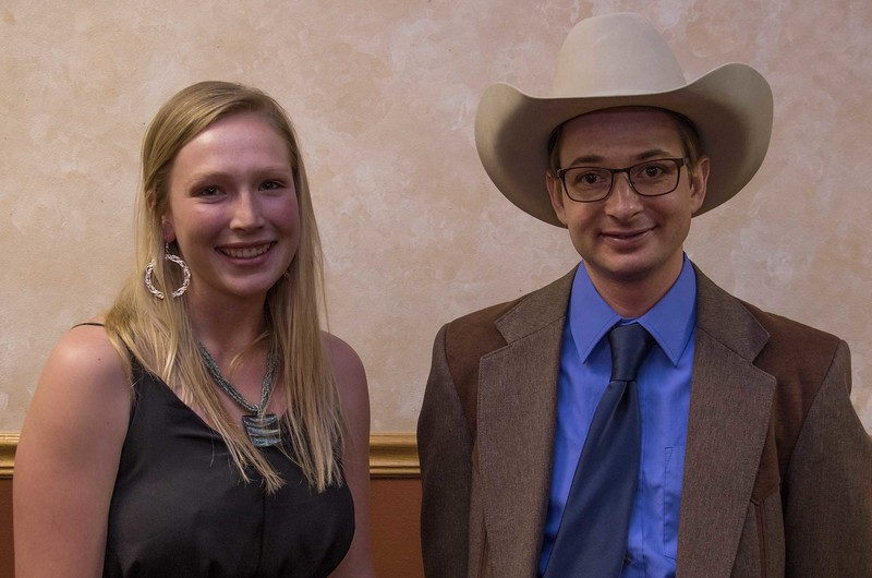 Chadron State College students Shelbey Nagle, left, and Wayne Robison, right, have been accepted to veterinary schools. Not pictured, Megan McLean. The three were honored at a banquet April 13, 2017. (Photo by Tena L. Cook/Chadron State College)