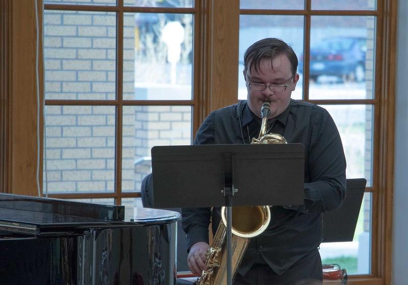 Chadron State College music major Forrest Holso performs his senior saxophone recital Saturday, April 1, 2017, in the Sandoz Center's Chicoine Atrium. (Photo by Alex Coon/Chadron State College)