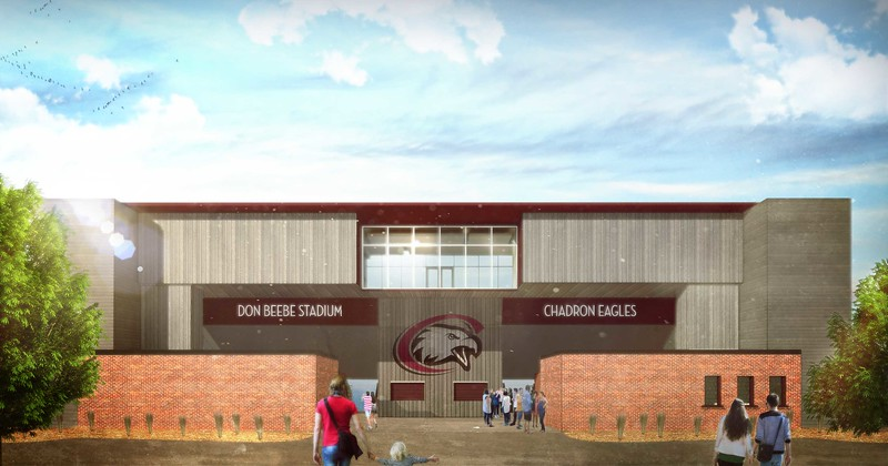 An artistic rendering of the south-facing entrance to Don Beebe Stadium, with the overlooking hospitality room, in the proposed CSC Sports Complex announced Wednesday, March 29, 2017.