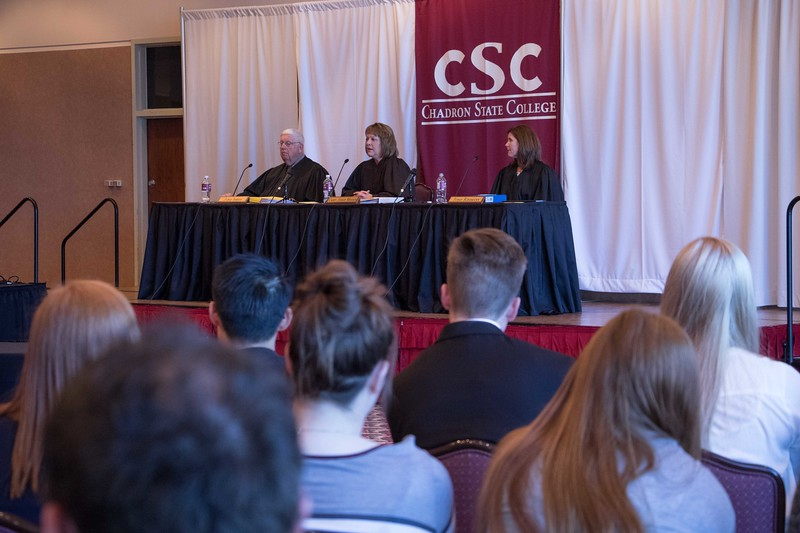 The Nebraska Court of Appeals, comprised of a three-member panel, hears cases in the Chadron State College Student Center Ballroom Tuesday, April 11, 2017. (Photo by Tena L. Cook/Chadron State College)