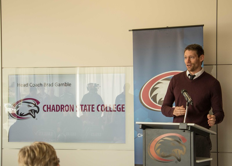 Chadron State College head track coach Brad Gamble speaks at a press conference to announce the new CSC Sports Complex on Wednesday, March 29, 2017. (Photo by Tena L. Cook/Chadron State College)