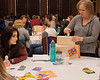 Tami Milne of Hemingford, right, decorates a box with ideas her table learned during the conference. Allyson Wolkow of Rushville looks on, during the 30th annual Excellence in Early Childhood Conference Saturday, Feb. 16, 2019, in the Student Center. (Tena L. Cook/Chadron State College)
