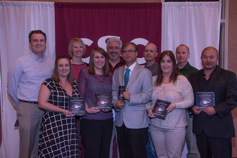 Employees honored for 10 years of service at the annual Chadron State College Faculty and Staff Recognition Luncheon Thursday, April 13, 2017, in the Student Center Ballroom. Front row, from left, Kristol Cummings, Stacie Mittleider, Dr. Shafiq Rahman, Stephanie Stroup and Jamie Wada. Back row, from left, Alex Helmbrecht, Malinda Linegar, Dr. Michael Stephens, Dr. Zachary Varpness and Michael Vogl. Not pictured, Dr. Ann Buchmann. (Photo by Tena L. Cook/Chadron State College)