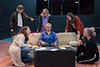 """Florence, middle, played by Mickenzi Loyd, receives support from her friends during her divorce during a rehearsal for """"The Odd Couple."""" The friends, clockwise from left, are Sylvie (Courtney Smith), Olive (Jennaya Hill), Mickey (Taylor Thies), Renee (Hannah Smith) and Vera (Kori Teasley). (Photo by Daniel Binkard/Chadron State College)"""