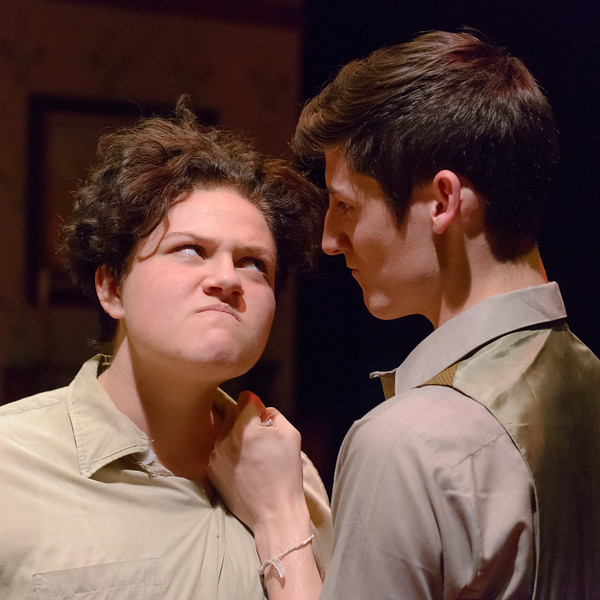 "Artie (Brie Royle) and Jay (Wacey Gallegos) stare each other down in Chadron State College's production of ""Lost in Yonkers"" by Neil Simon, student-directed by Molly Thornton. (Photo by Daniel Binkard/Chadron State College)"