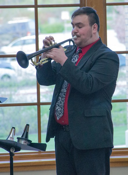 Aydin Mack performs during a Chadron State College student and faculty composers concert Wednesday, April 26, 2017, in the Sandoz Center Chicoine Atrium. (Photo by Alex Coon/Chadron State College)