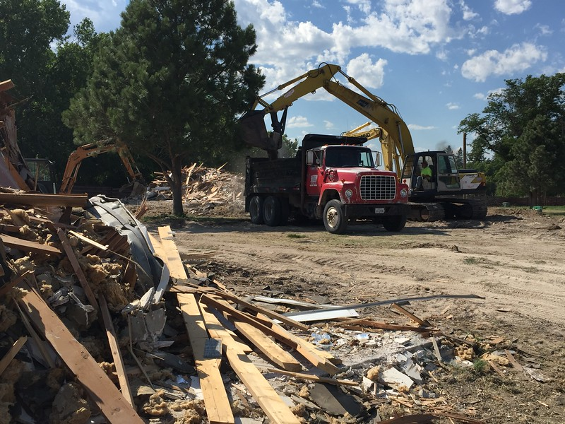 Crews complete demolition of the last two West Court buildings July 5, 2017. Demolition began in 2015. Building 26 was renovated and serves as the Military/Veteran Resource Center. (Tena L. Cook/Chadron State College)