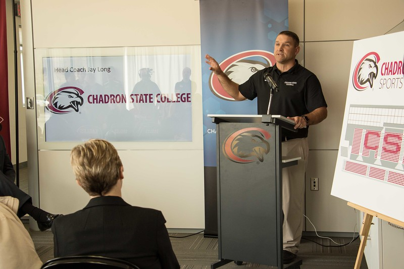 Chadron State College head football coach Jay Long speaks at a press conference to announce the new CSC Sports Complex on Wednesday, March 29, 2017. (Photo by Tena L. Cook/Chadron State College)