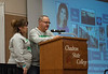 """Shardel and Mark Nelson speak about the loss of their daughter, Kaelia, at the Chadron State College Social Work 435 conference, """"Suicide: Starting the Conversation,"""" in the Student Center Wednesday, Nov. 7, 2018. (Tena L. Cook/Chadron State College)"""