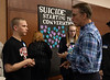 """Speaker Dennis Gillan, right, talks with Timothy McClure of Chadron, at the Chadron State College Social Work 435 conference, """"Suicide: Starting the Conversation,"""" in the Student Center Wednesday, Nov. 7, 2018. (Tena L. Cook/Chadron State College)"""