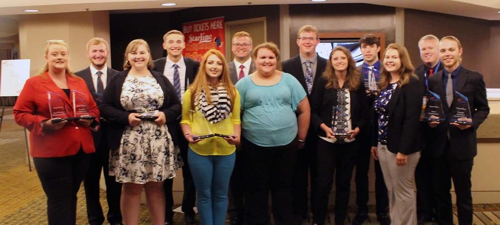 Front row, from left, Molly O'Connell, Leyna Brummels, Stephanie Alfred, Tierra Snyder, Marleigha McDonald, Kelsey Brummels and Drew Kasch. Back row, from left, Dawson Brunswick, Lukas Klueber, Cody Cooper, Austin Casper, Troy Fields and faculty adviser Todd Jamison. (Courtesy photo)