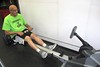 Chadron State College faculty member Marv Neuharth demonstrates the rowing machine June 10, 2018, that is among the 23 pieces of cardio workout equipment available at the Nelson Physical Activity Center on campus.  (George Ledbetter photo)