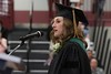 Dr. Megan Schuckman, Chadron State College alumna and family physician, delivers the undergraduate commencement speech May 6, 2017, in the Chicoine Center. (Photo by Tena L. Cook/Chadron State College)